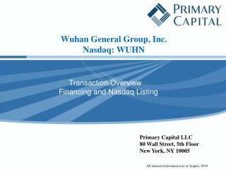 Wuhan General Group, Inc. Nasdaq : WUHN