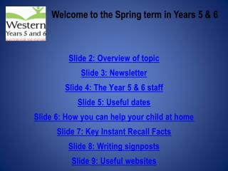 Welcome to the Spring term in Years 5 & 6