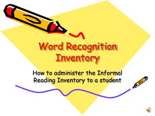 Word Recognition Inventory