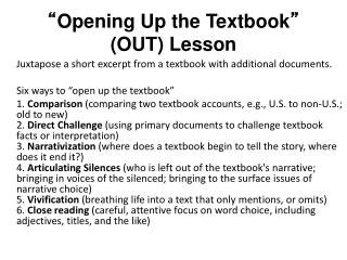 """ Opening Up the Textbook ""  (OUT) Lesson"