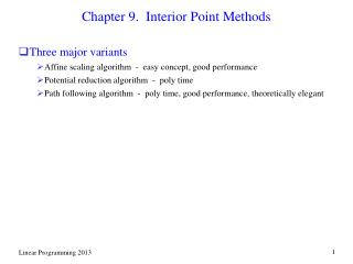 Chapter 9.  Interior Point Methods