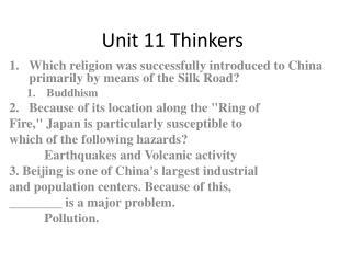 Unit 11 Thinkers