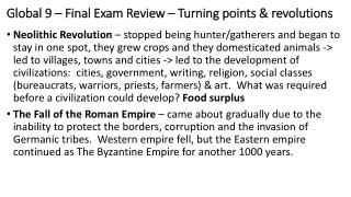 Global 9 – Final Exam Review – Turning points & revolutions