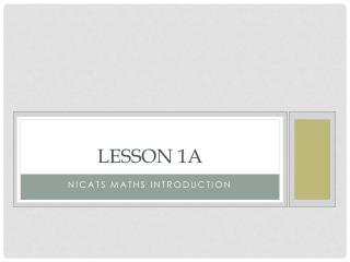 Lesson 1a