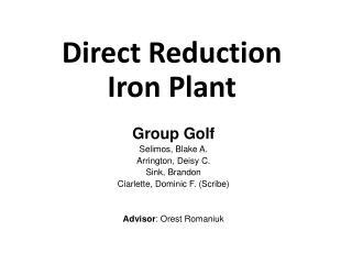 Direct Reduction Iron Plant