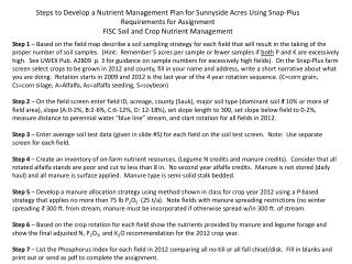 Steps to Develop a Nutrient Management Plan for Sunnyside Acres Using Snap-Plus