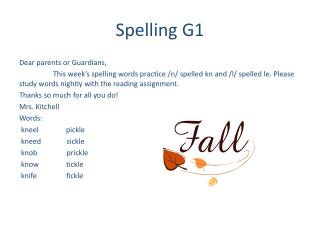 Spelling G1