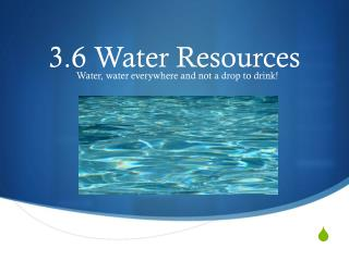 3.6 Water Resources