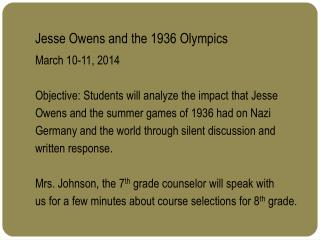 Jesse Owens and the 1936 Olympics