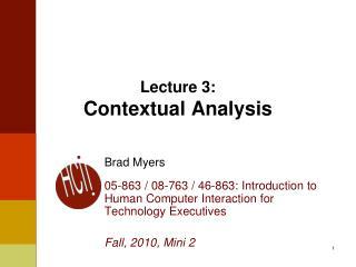 Lecture 3: Contextual Analysis