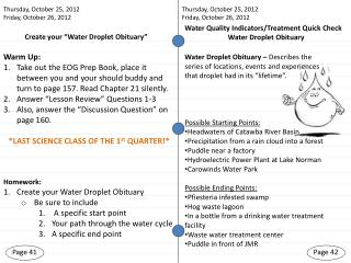 Create your �Water Droplet Obituary�