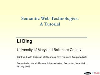 Semantic Web Technologies: A Tutorial