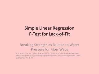 Simple Linear Regression F-Test for Lack-of-Fit