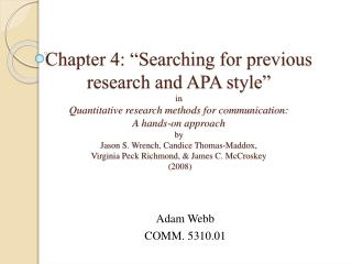 Adam Webb COMM.  5310.01