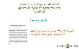 How do you figure out what genre or type of text you are reading? For example: