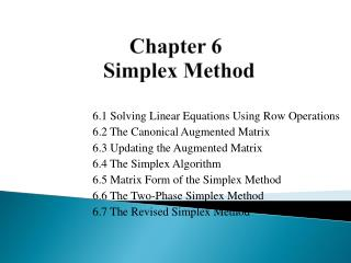 Chapter 6 Simplex Method