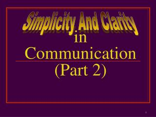in Communication (Part 2)