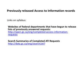 Previously released Access to Information records