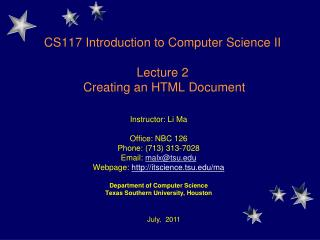 CS117 Introduction to Computer Science II Lecture 2  Creating an HTML Document