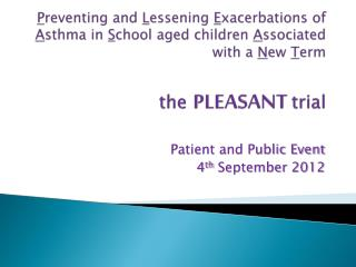 Patient and Public Event  4 th  September 2012