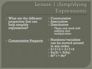 Lesson 1 (Simplifying Expressions)