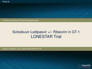 Sofosbuvir-Ledipasvir  +/-  Ribavirin in GT-1 LONESTAR Trial