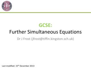 GCSE: Further Simultaneous Equations