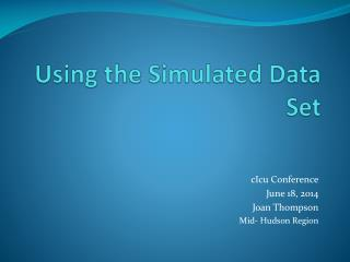 Using the Simulated Data Set