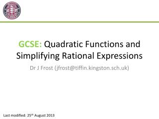 GCSE:  Quadratic Functions and Simplifying Rational Expressions