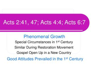 Acts 2:41, 47; Acts 4:4; Acts 6:7
