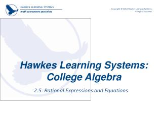 Hawkes Learning Systems:  College Algebra