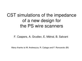 CST simulations of the impedance of a new design for the PS wire scanners
