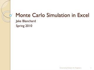 Monte Carlo Simulation in Excel