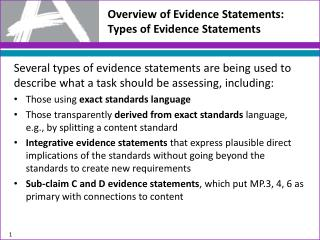 Overview of Evidence Statements:  Types of Evidence Statements