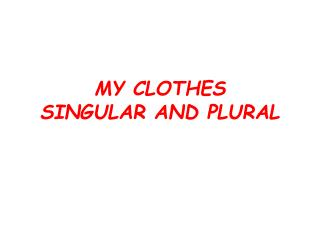 MY CLOTHES  SINGULAR AND PLURAL