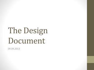 The Design Document