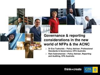 Governance & reporting considerations in the new world of NFPs & the ACNC
