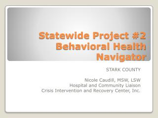 Statewide Project #2 Behavioral Health Navigator