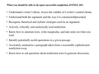 What you should be able to do upon successful completion of ENGL 101: