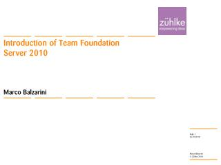 Introduction of TeamFoundation Server2010