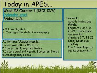 Week #8 Quarter 2 (12/2-12/6)  (calendar site) Friday, 12/6