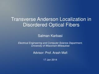 Transverse Anderson Localization in  Disordered Optical  Fibers