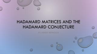 Hadamard  matrices and the  hadamard  conjecture