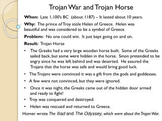 Trojan War and Trojan Horse