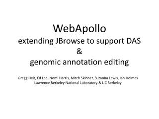 WebApollo extending  JBrowse  to support DAS  & genomic annotation editing