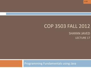 COP  3503  FALL 2012 Shayan Javed Lecture 17