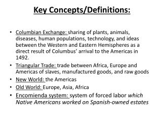 Key Concepts/Definitions: