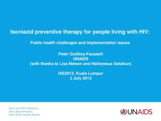 Isoniazid preventive therapy for people living with HIV: