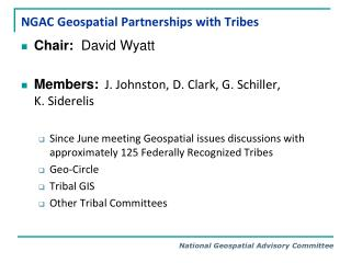NGAC Geospatial Partnerships with Tribes