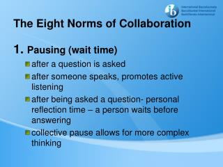 The Eight Norms of Collaboration